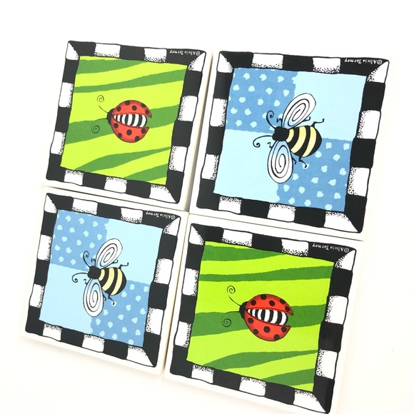 Other - Set of 4 Insect Lady Bug & Bumblebee Coasters